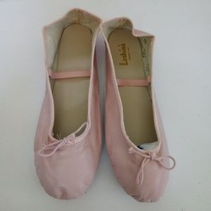 Pink Leather Ballet Slippers Shoes Professional